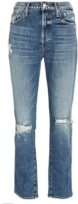 Mother Trickster Distressed Straight-Leg Jeans