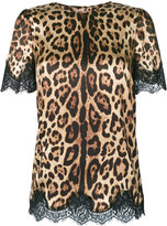 Dolce & Gabbana leopard print top - women - Silk/Cotton/Polyamide/Spandex/Elastane - 42