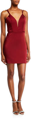 Faviana V-Neck Lattice Back Mini Stretch Faille Satin Dress