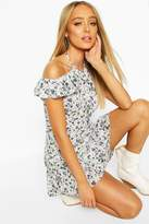 boohoo Ditsy Floral Off Shoulder Ruffle Mini Dress