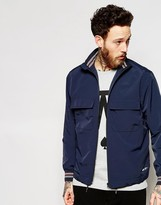 Wood Wood Jacket With Funnel Neck Fasten In Navy