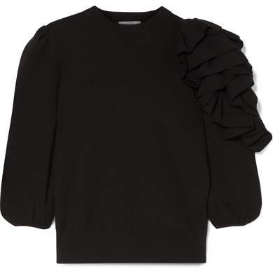 Co Ruffled Merino Wool Sweater - Black