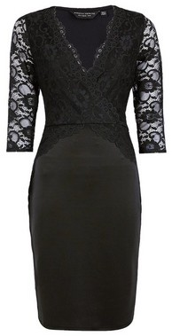 Dorothy Perkins Womens **Black Lace Top Bodycon Dress, Black