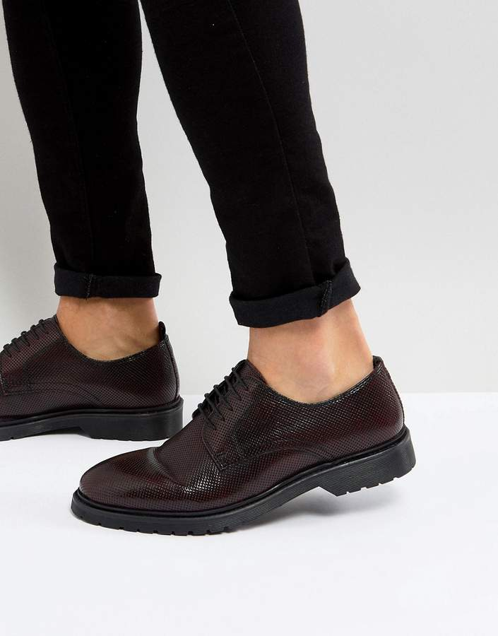 Asos DESIGN Lace Up Derby Shoes In Burgundy Perforated Leather With Ribbed Sole