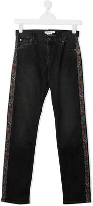 Bonpoint Straight-Leg Floral Print Stripe Jeans