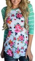 KufvWomens Prints Florals 3/4 Sleeve Crew Neck Top Tshirt (L, )