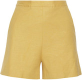 Theory Tarrytown Stretch-linen Shorts - Mustard