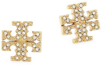 Tory Burch Goldtone Pave Logo Stud Earrings