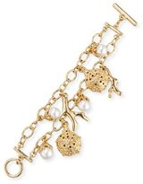 Oscar de la Renta Urchin Simulated Pearl Charm Bracelet, Golden
