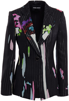 Giorgio Armani Striped Mulberry Silk-jacquard Blazer