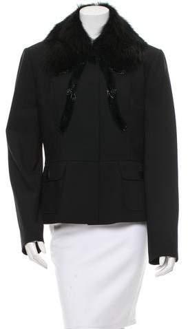 Dolce & Gabbana Embellished Fur-Trimmed Jacket w/ Tags