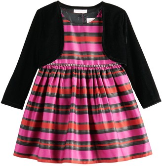 Youngland Toddler Girl Striped Dress & Shrug Set