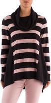 Cowl Neck Stripe Panel Pullover