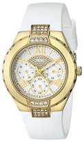 GUESS Women's U0327L1 White Silicone Multi-Function Watch with Gold-Tone Case and Genuine Crystal Accents