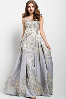 Jovani 54403 Leaves Illusion Patterned Evening Gown
