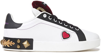 Dolce & Gabbana Portofino Embellished Leather Sneakers