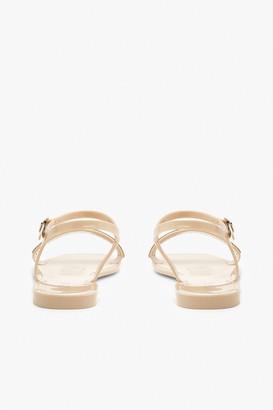 boohoo Diamante Strap Square Toe Jelly Sandals