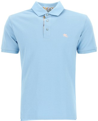 Etro POLO SHIRT WITH PEGASUS EMBROIDERY L Light blue, Blue, Pink Cotton