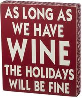 """As Long As We Have Wine"" Christmas Wood Wall Art"