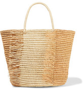 Sensi Studio Frayed Two-Tone Woven Toquilla Straw Tote