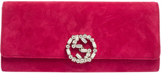 Gucci Pink Suede Broadway GG Crystal Closure Clutch