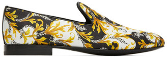 Versace White and Gold Barocco Loafers