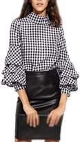 Jumojufol Women's Autumn Elegant Simple Long Lantern Sleeve High Neck Plaid T Shirt Blouse L