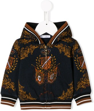Dolce & Gabbana Kids Heraldic emblem print zip-up hoodie