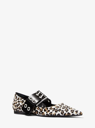 Maude Leopard Calf Hair Pointed-Toe Mary Jane Flat