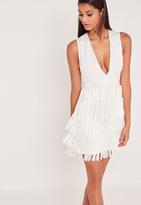 Missguided Carli Bybel Fringed Tassel Detail Bodycon Dress White