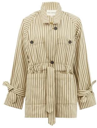 Mara Hoffman Arlo Single-breasted Drawstring Striped Jacket - Green Stripe