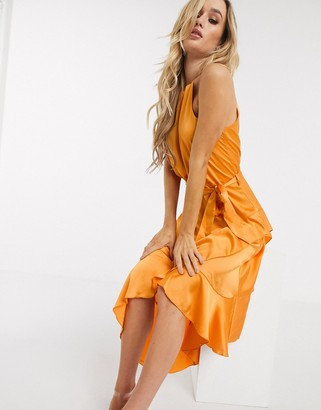 Forever Unique Forever U by high neck midi dress with ruffle in orange