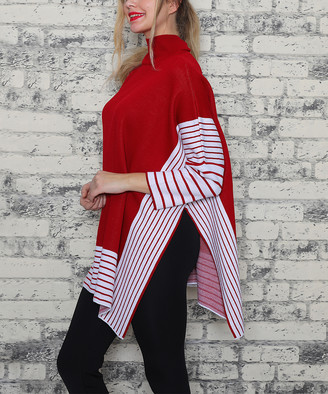 Aqe Fashion AQE Fashion Women's Ponchos RED - Red & White Stripe Mock-Neck Oversize Pullover - Women