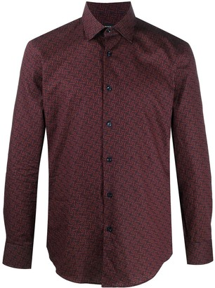 HUGO BOSS Monogram-Print Cotton Shirt