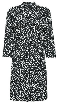Dorothy Perkins Womens Black Animal Print Frill Shirt Dress, Black