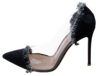 Gianvito Rossi Denim-Trimmed Pointed-Toe Pumps