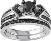 Sterling Silver 1 1/8 Carat T.W. Black Diamond Engagement Ring Set
