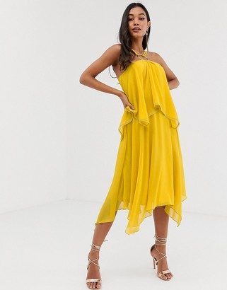 Asos Design DESIGN midi dress with double layer and halter ring detail-Yellow