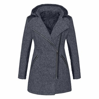 Lazzboy Jacket Coat Women Woolen Faux Wool Zip Quilted Patchwork Hooded Outerwear UK 6-18 Plus Size Oversized(3XL(16)