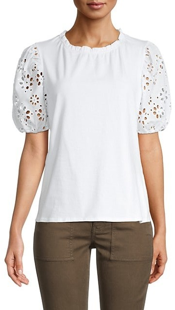 Laundry by Shelli Segal Eyelet Puffed-Sleeve Top