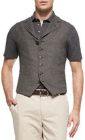 Brunello Cucinelli 6-Button Wool Waistcoat, Gray