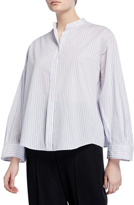 Vince Pleated Button-Down Striped Shirt