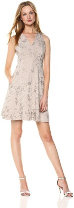 T Tahari Women's Annalise Metallic Floral Print Dress