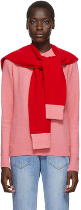 Sjyp Pink and Red Layered Muffler Pullover
