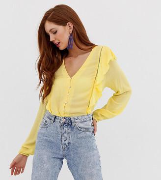 Stradivarius STR frill shoulder vneck blouse in yellow