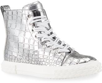 Giuseppe Zanotti Men's Blabber Metallic Croc-Embossed High-Top Sneakers