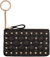 Valentino Black Rockstud Spike Coin Pouch