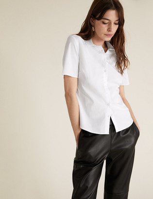 Marks and Spencer Cotton Rich Fitted Short Sleeve Shirt