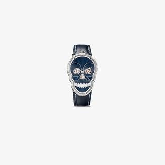 Fiona Kruger Blue and black Petit Skull diamond watch