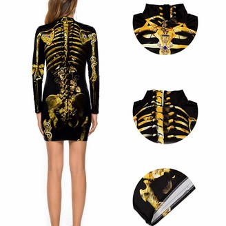 Beautifop Halloween Dress Women Girl Elastic Long Sleeves Casual Christmas Sexy Evening Party Dress Black